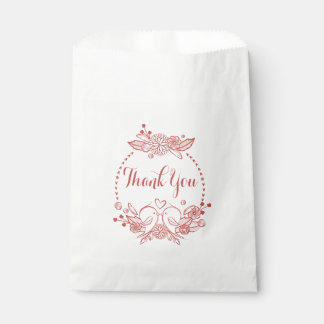 Floral Burgundy Just Married Red Lovebirds Wedding Favour Bags