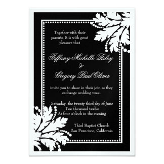 Floral Burst Wedding Invite Metallic [White]
