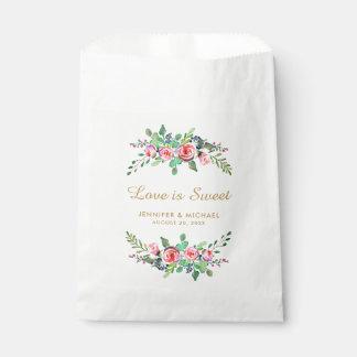 Floral Chic Gold Love is Sweet Wedding Favor Bag