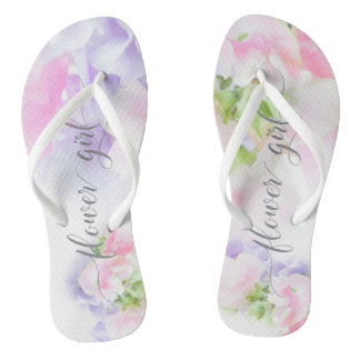 FLORAL CHIC WEDDING SWEET PEAS Flower Girl Jandals