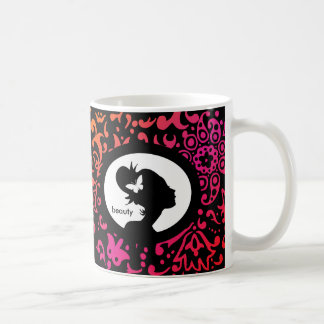 Floral Coffee Mug Woman Silhouette Colorful