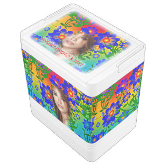 Floral Colorful Mosaic - Green, Flowers, Cooler Chilly Bin