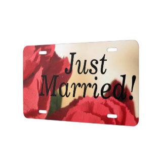 Floral Corner Just Married License Plate
