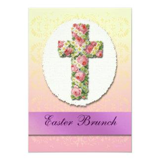Floral Cross Easter Brunch Custom Invitations