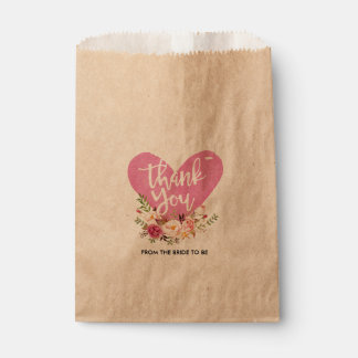 Floral Custom Thank You Kraft Paper Bag Favour Bags