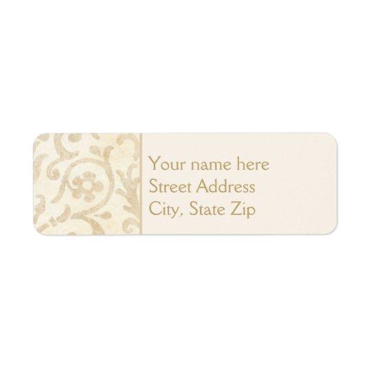 Floral Damask Creme and Beige Return Address Label