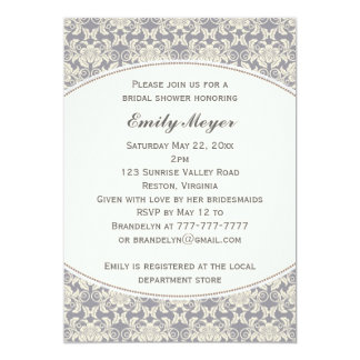 Floral Damask Lace Bridal Shower Invitation