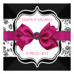 Floral Damask Wedding Invite with Bow