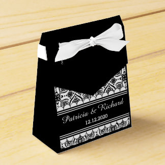 Floral Damask Wedding Thank You Black And White Favour Box