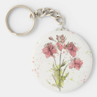 Floral Dark Pink Splash Basic Round Button Key Ring