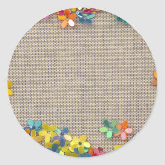 floral decor round sticker