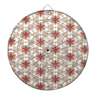 Floral Decoration. Floral Fabric Texture Pattern Dartboard With Darts