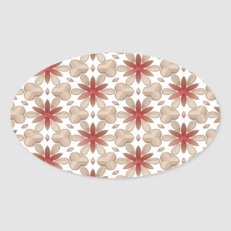 Floral Decoration. Floral Fabric Texture Pattern Oval Sticker