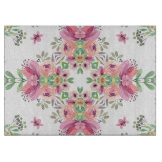 "Floral Decorative Glass Cutting Board 15x11"""