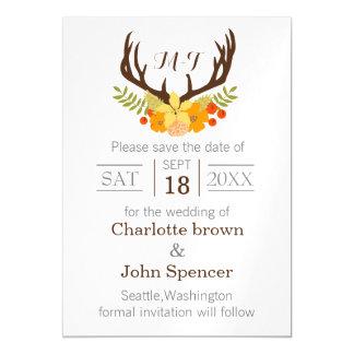 floral Deer Antler Monogram save the date Magnetic Invitations