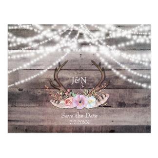 Floral Deer Antlers & String Lights Save the Date Postcard