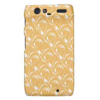 Floral Design On Beeswax Orange Yellow Background Droid RAZR Cover