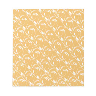 Floral Design On Beeswax Orange Yellow Background Memo Note Pad