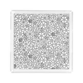 Floral Doodle Acrylic Tray