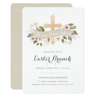 Floral Easter Cross Invitation