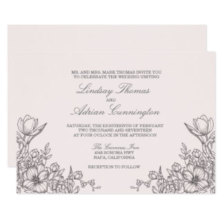 Floral Elegance Wedding Invitation