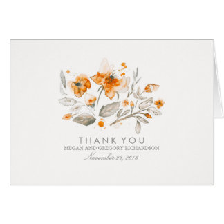 Floral Fall Vintage Watercolor Wedding Thank You Note Card