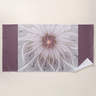 Floral Fantasy, Abstract Modern Pastel Flower Beach Towel