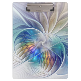 Floral Fantasy, Colorful Abstract Fractal Flower Clipboard