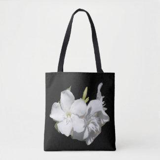Floral Fashion Tote Bag -White Oleander on Black