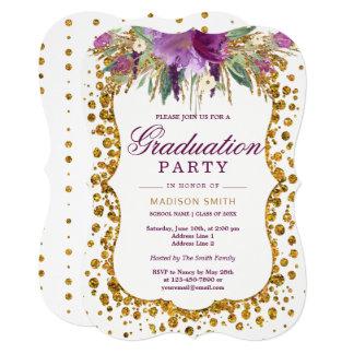 Floral Faux Gold Glitter Confetti Graduation Party