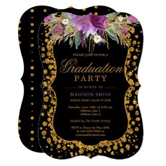 Floral Faux Gold Sparkle Confetti Graduation Party