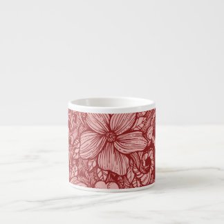 Floral Flow- Burgundy- Espresso Cup