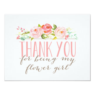 Floral Flower Girl Thank You 11 Cm X 14 Cm Invitation Card