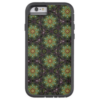 Floral Fractal Abstract Pattern in Black and Green Tough Xtreme iPhone 6 Case