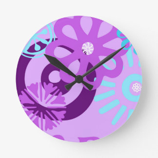 floral funky wall clock