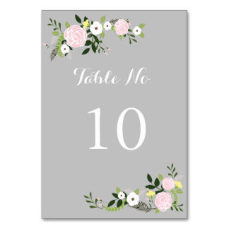 Floral Garden Table Number Card -gray Table Card