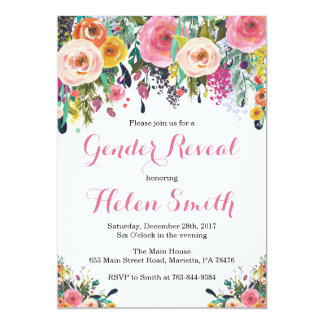 Floral Gender Reveal  Invitation Card Watercolor
