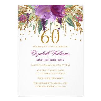 Floral Glitter Sparkling Amethyst 60th Birthday Card