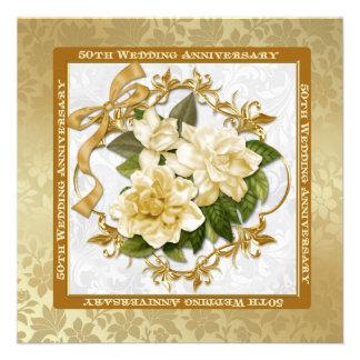 Floral Gold  50th Wedding Anniversary Custom Announcement