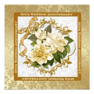 Floral Gold  50th Wedding Anniversary 13 Cm X 13 Cm Square Invitation Card