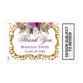 Floral Gold Glitter Confetti Graduation Thank You