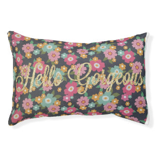 "Floral Gold Glitter ""Hello Gorgeous"" Dog Bed"