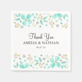 Floral Gold Mint Leaf Wedding Napkin Paper Napkin