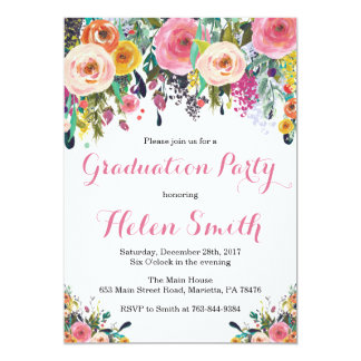 Floral Graduation Party Invitation Card Watercolor