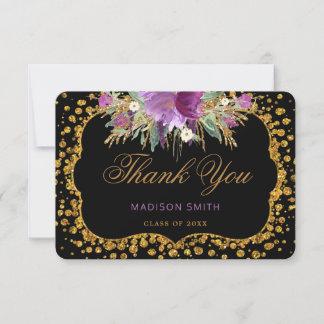Floral Graduation Thank You Gold Glitter Confetti