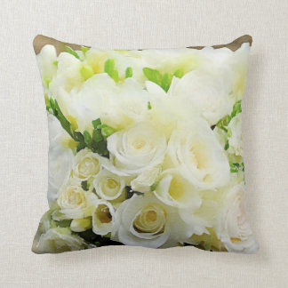 Floral Graphic White and Cream Roses Cushion