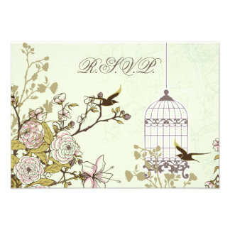 floral green bird cage, love birds RSVP 3.5 x 5 Announcements