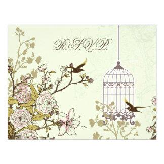 floral green bird cage, love birds RSVP Custom Invite