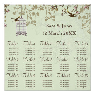 floral green bird cage, love birds  Seating Chart Poster