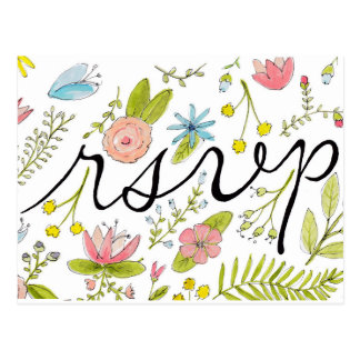 Floral hand-illustrated rsvp postcard